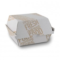 Cutie burger imprimata, capac rabatabil, carton, 450 ml, set 250 buc