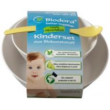 Set copii Biodora, bioplastic, doua vase (0.5 l, 0.3 l) si o lingura