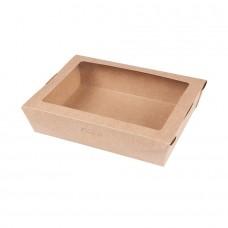 Cutii biodegradabile pentru salata si hrana rece, carton maro cu ceara si PLA, 1100 ml, set 300 buc