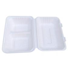 Caserole biodegradabile doua compartimente, capac rabatabil, trestie de zahar, 850 ml, set 50 buc
