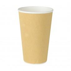 Pahare biodegradabile, triplu strat, carton ondulat cu PLA, 400ml/16oz, set 25 buc