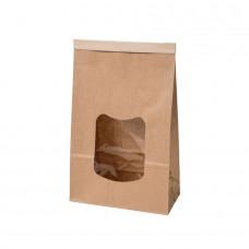 Pungi biodegradabile L cu inchidere, hartie cu fereastra si captuseala din PLA, 70x155x242 mm, set 400 buc