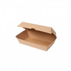 Cutii biodegradabile hamburger, capac rabatabil, carton maro, 900 ml, set 100 buc