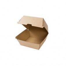 Cutii biodegradabile hamburger, capac rabatabil, carton maro, 450 ml, set 50 buc