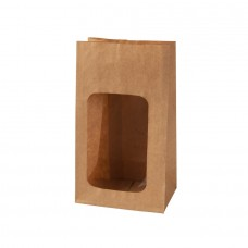 Pungi biodegradabile S, hartie cu fereastra din PLA, 55x95x165 mm, set 500 buc