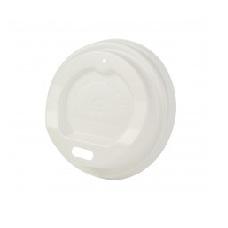 Capace biodegradabile albe cu deschidere bautura pentru pahare carton 100 ml, CPLA, set 50 buc