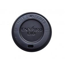 Capace biodegradabile negre cu deschidere bautura pentru pahare carton 150/200 ml, Ø 80 mm, CPLA, set 100 buc