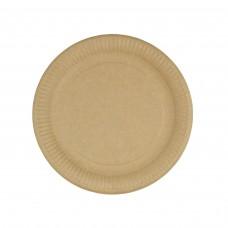 Farfurii biodegradabile rotunde, carton maro, Ø 23 cm, 50 buc