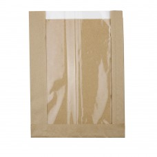 Pungi biodegradabile maro, hartie cu folie PLA, 20x5x26.7 cm, set 500 buc