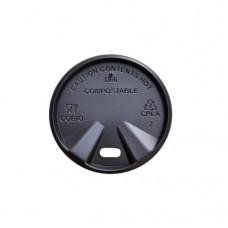 Capace biodegradabile negre cu deschidere bautura pentru pahare carton 100 ml, Ø 60 mm, CPLA, set 100 buc
