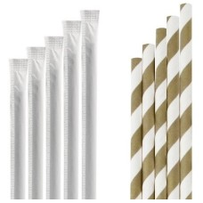 Paie biodegradabile din hartie ambalate individual, alb/auriu, 197 mm, Ø 6 mm, set 250 buc