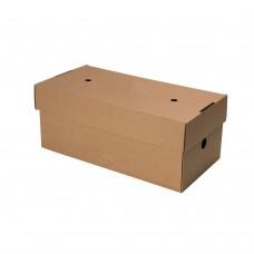 Cutii biodegradabile dublu hamburger, carton maro kraft, 24.4x12.2x10.2 cm, set 100 buc