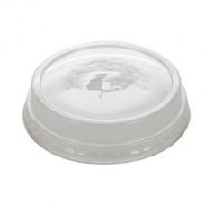 Capace biodegradabile transparente plate cu orificiu pai, PLA, Ø 77 mm, set 50 buc