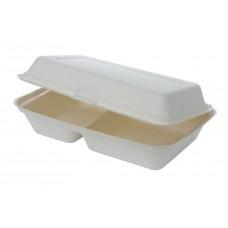 Caserola biodegradabila doua compartimente, capac rabatabil, trestie de zahar, 650 ml, set 50 buc