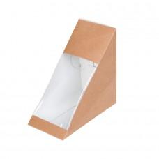 Cutii biodegradabile triunghi sandwich, carton maro si PLA, 400 ml, set 150 buc
