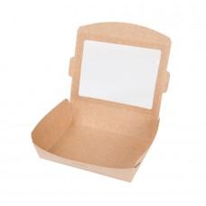 Cutie biodegradabila maro pentru salata si hrana rece, carton cu ceara si PLA, 1100 ml, set 300 buc