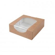 Cutii biodegradabile maro, carton cu fereastra din PLA, 600 ml, set 250 buc
