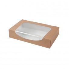 Cutii biodegradabile maro, carton cu fereastra din PLA , 900 ml, set 400 buc
