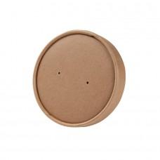 Capac biodegradabil maro cu aerisire pentru bol universal 200/300 ml, dublu strat, carton cu PLA, set 25 buc