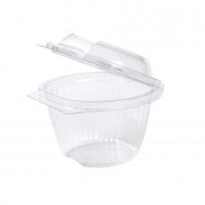 Caserole biodegradabile rotunde transparente, capac rabatabil, PLA, 370 ml, set 50 buc
