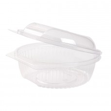 Caserole biodegradabile rotunde transparente, capac rabatabil, PLA, 750 ml, set 50 buc