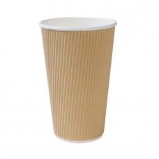 Pahar biodegradabil, triplu strat, carton cu PLA, 400ml/16oz, set 25 buc