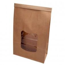 Punga biodegradabila L, hartie cu fereastra si captuseala din PLA, 70x155x242 mm, set 400 buc